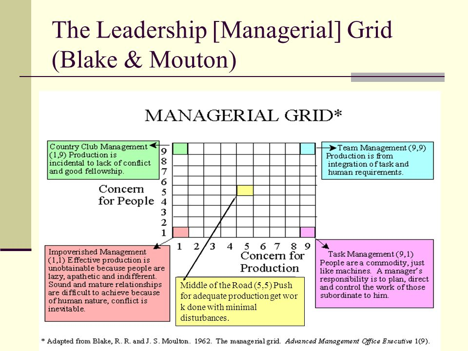 managerial grid theory Abstract this brief document endeavors to deliver upon three objectives first, an explanation of blake and mouton's managerial grid will provide the reader with insight regarding the intent and mechanics behind the theory.